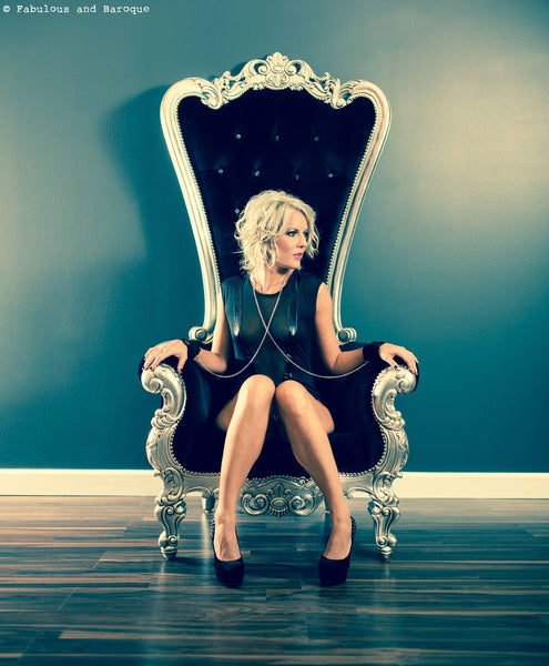 Gryphon Reine Chair - Silver Leaf and Black Velvet - Client Photo