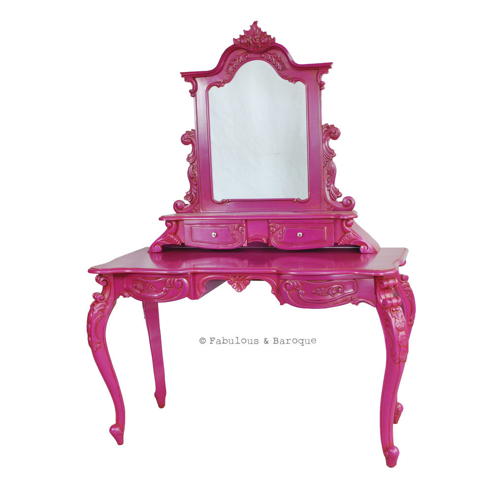 Anais Dressing Table & Mirror- Fuchsia