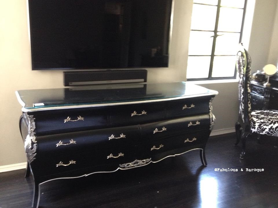 Bordeaux Bombay 6 ft Chest - Black & Silver - Client Photo