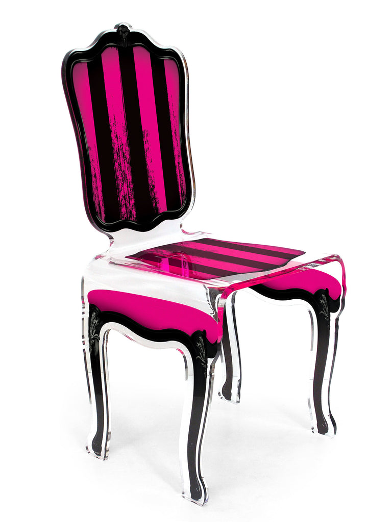 Charleston Chair - Black and Pink Stripes