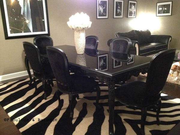 French Carved Dining Table & 6 Chairs - Black - Client Photo