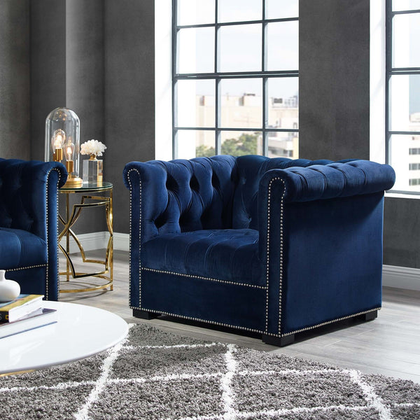 Heritage Performance Velvet Armchair *Available in Grey, Cream, Light Blue & Navy