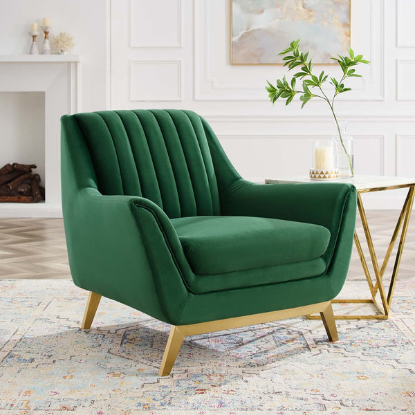 Winsome Channel Tufted Performance Velvet Armchair *Available in Emerald, Navy & Grey