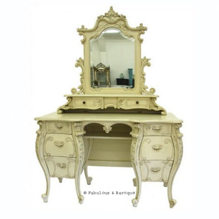 Fabulous & Rococo Dressing Table & Mirror- Ivory