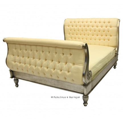 Madame Royale Tufted Bed - Silver Leaf