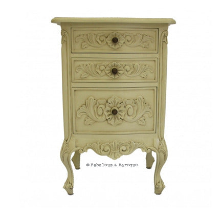 Rosetta French 3 Drawer Side Table - Ivory