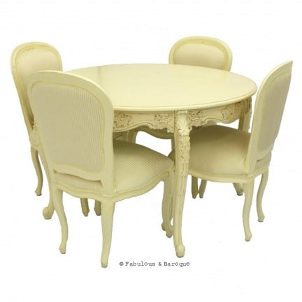 "Cherise 48"" Round Dining Table & 4 Chairs - Ivory"