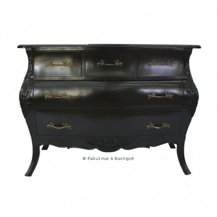 Bordeaux Bombay 5 Drawer Chest - Black