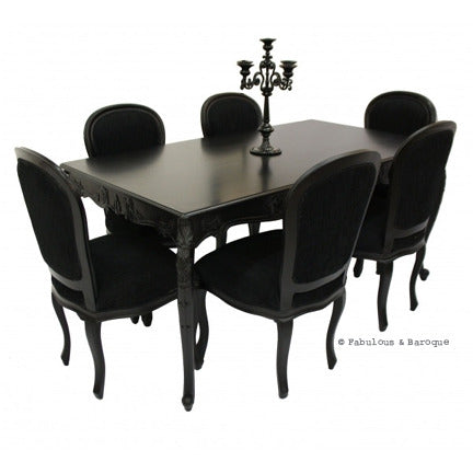 French Carved Dining Table & 6 Chairs - Black
