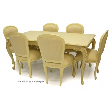 French Carved Dining Table & 6 Chairs - Ivory