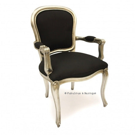Fabulous French Upholstered Armchair - Silver Leaf