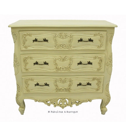 Josette 3 Drawer Carved Chest- Ivory