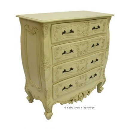 Josette 5 Drawer Carved Chest- Ivory