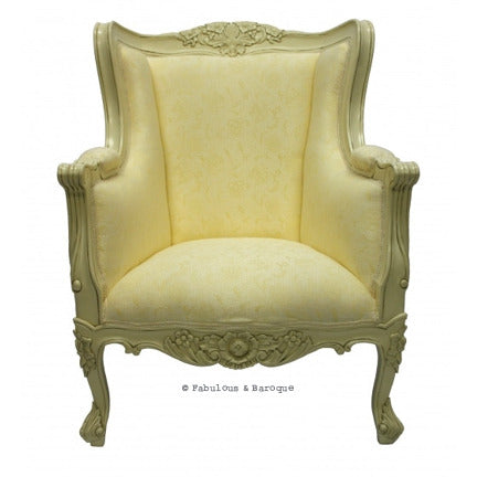 Aveline French Wing Back Chair - Ivory