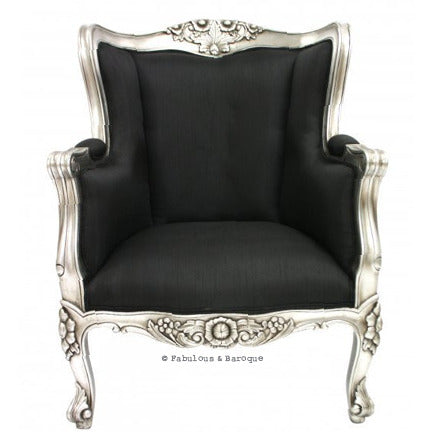 Aveline French Wing Back Chair - Silver Leaf