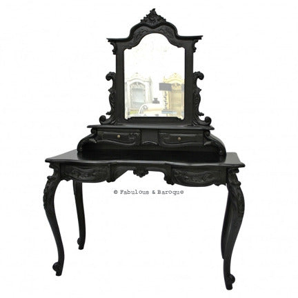 Anais Dressing Table & Mirror- Black