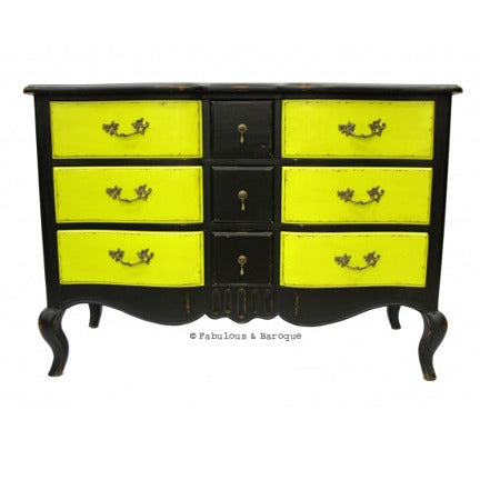 Napoleon 9 Drawer Sideboard - Black & Chartreuse