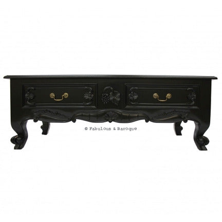 Elsa 4 Drawer French Coffee - Black Table