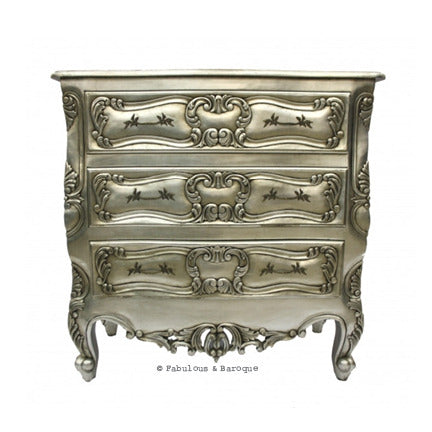 Josette 3 Drawer Carved Chest - Silver Leaf