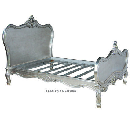 Sabine Shabby Chic French Bed - Silver Leaf