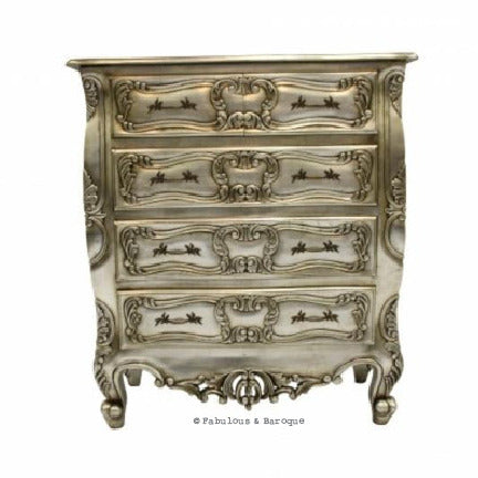 Josette 5 Drawer Carved Chest - Silver Leaf