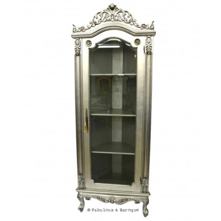Helene French Corner Display Cabinet - Silver Leaf