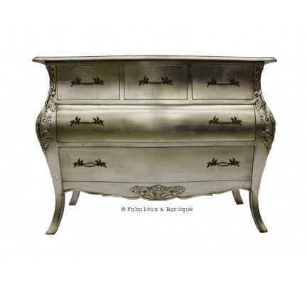 Bordeaux Bombay 5 Drawer Chest - Silver Leaf