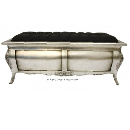Bordeaux Silk Upholstered Blanket Box Ottoman - Silver Leaf