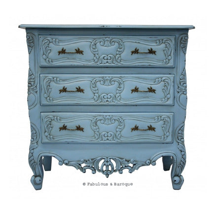 Josette 3 Drawer Carved Chest - French Blue