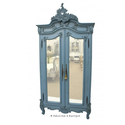 Emmanuelle 2 Door Mirrored Armoire - French Blue