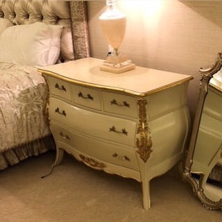 Bordeaux Bombay 5 Drawer Chest - Ivory & Gold