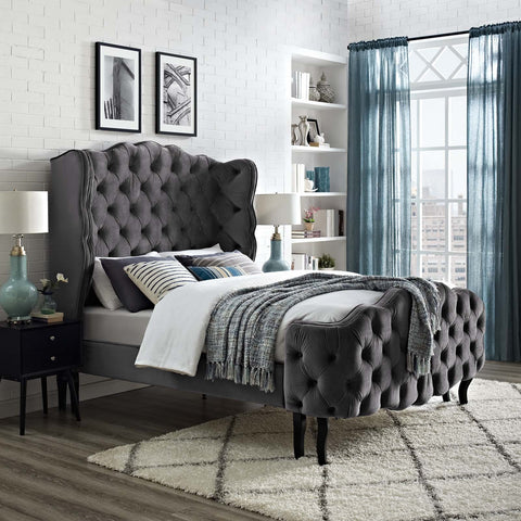 Violet Queen Tufted Wingback Velvet Bed *Available in Grey, Sea Blue, Navy & Cream