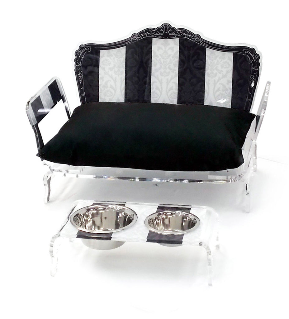 Baroque Pet Bed - Black and White Stripes with Back Cushion