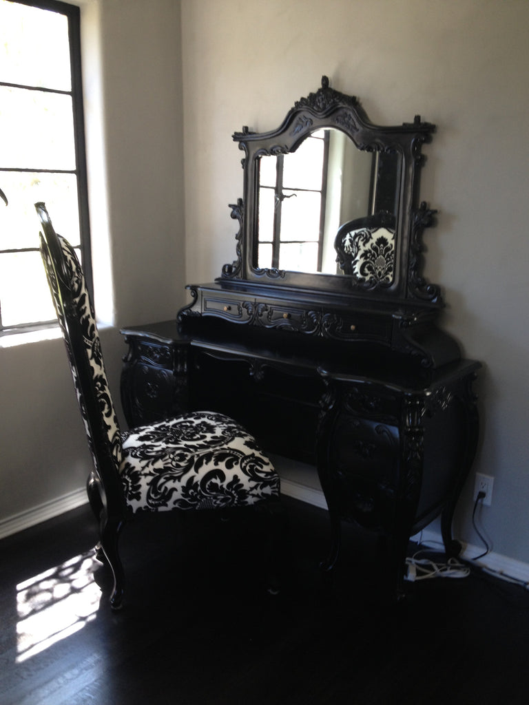 Fabulous & Rococo Dressing Table - Black & Dauphine Damask Chair - Client Photo