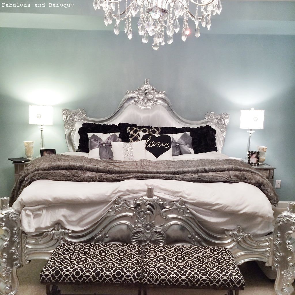 Royal Fortune Montespan Bed - Silver Leaf & White Silk - Client Photo