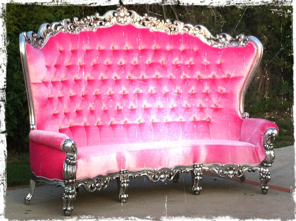 "Fabulous and Baroque's Gryphon Reine 96"" Curved Sofa - Silver Leaf & Pink Velvet"