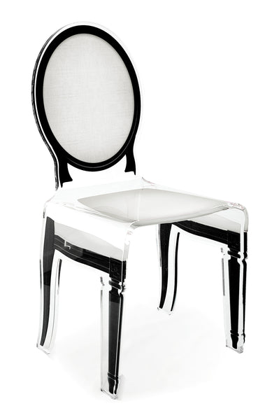 Sixteen Chair - White with black outline