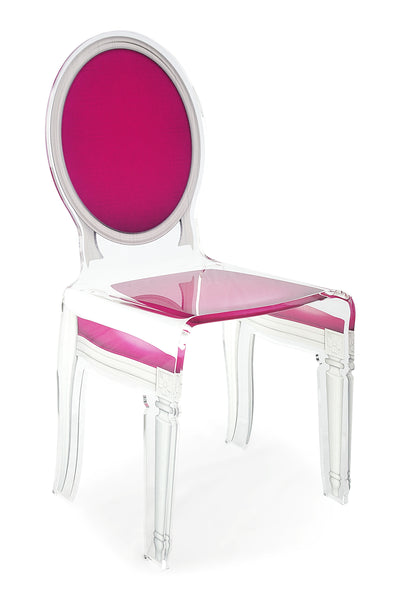 Sixteen Chair - Pink with white outline