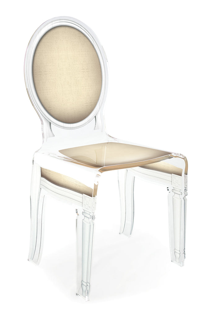 Sixteen Chair - Light Taupe with white outline