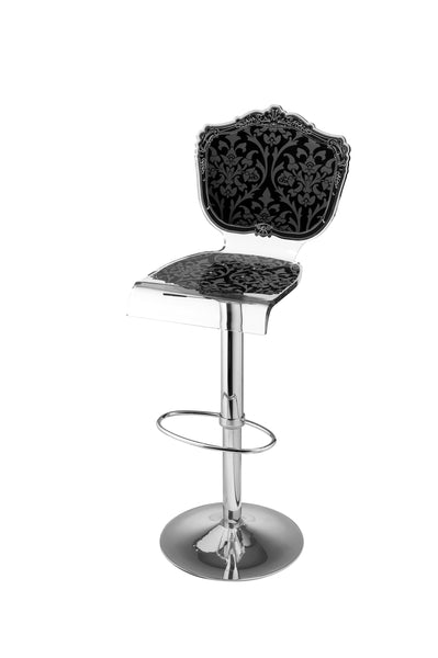 Baroque Barstool - Black with metal adjustable pedestal base