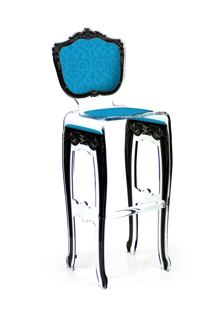 Baroque Barstool - Blue with plexiglass legs