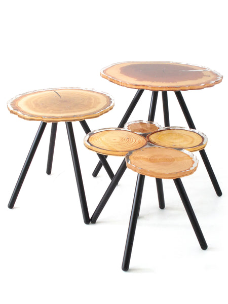 Quebec Side Table - Wood with metal legs - Set of 3