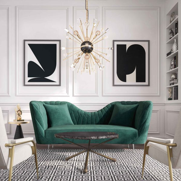 Eva Forest Green Velvet Sofa
