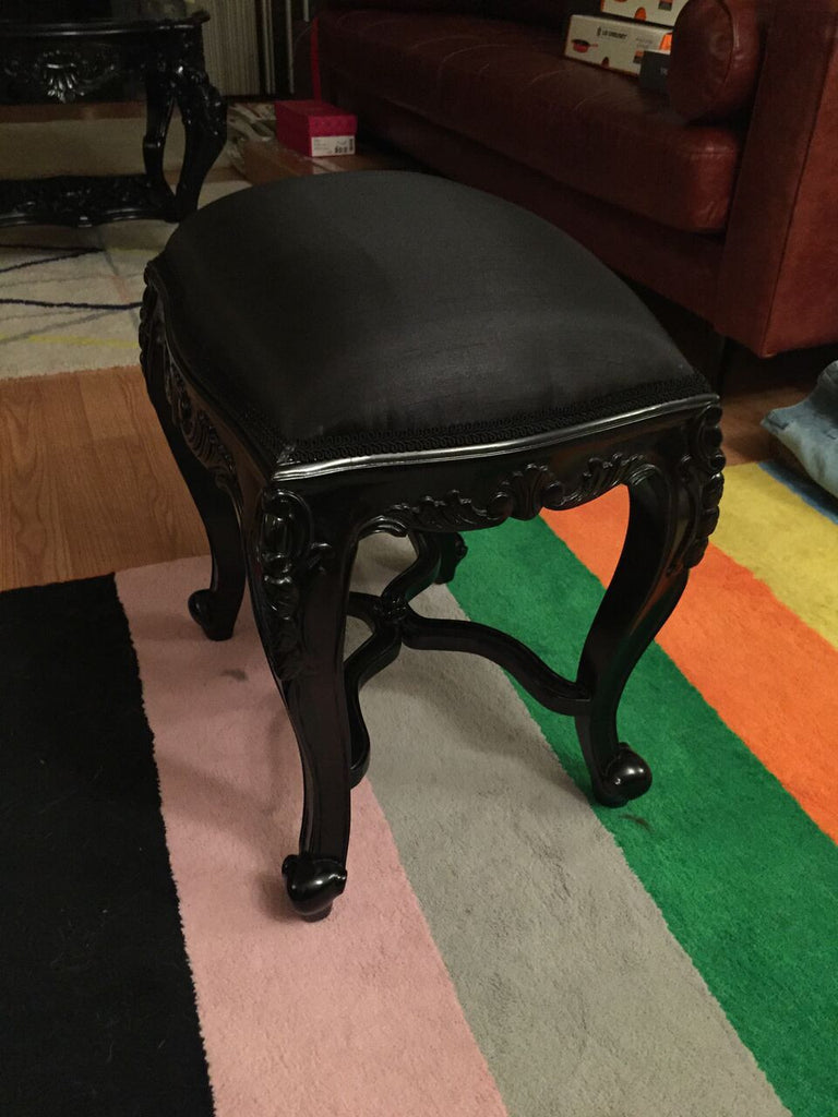 Fabulous French Dressing Table Stool - Black - CLIENT PHOTO