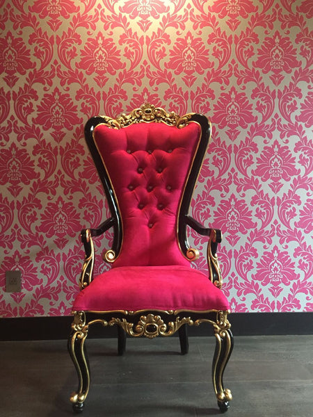 Absolom Roche Arm Chair - Fuchsia, Gold & Black- CLIENT PHOTO