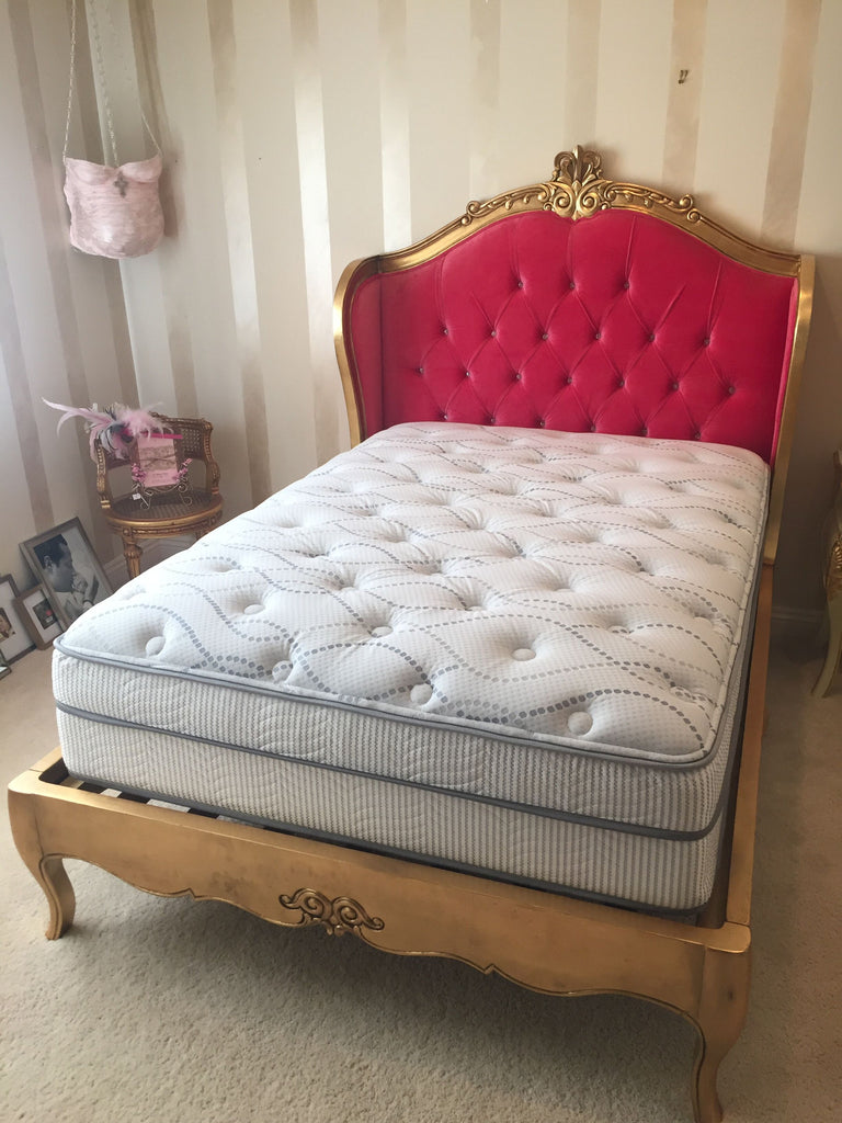 Amelie Platform Bed is a beauty, hand carved from & finished using gold leaf to give a contemporary look, upholstered in pink velvet and studded with buttons. 10