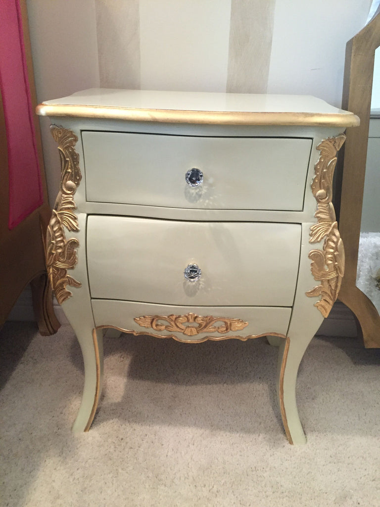 Bordeaux Side Table - Ivory & Gold- CLIENT PHOTO
