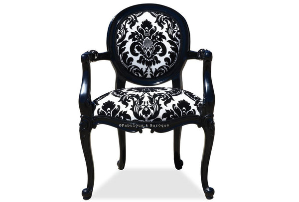 Angelique Armchair - Black & White Damask