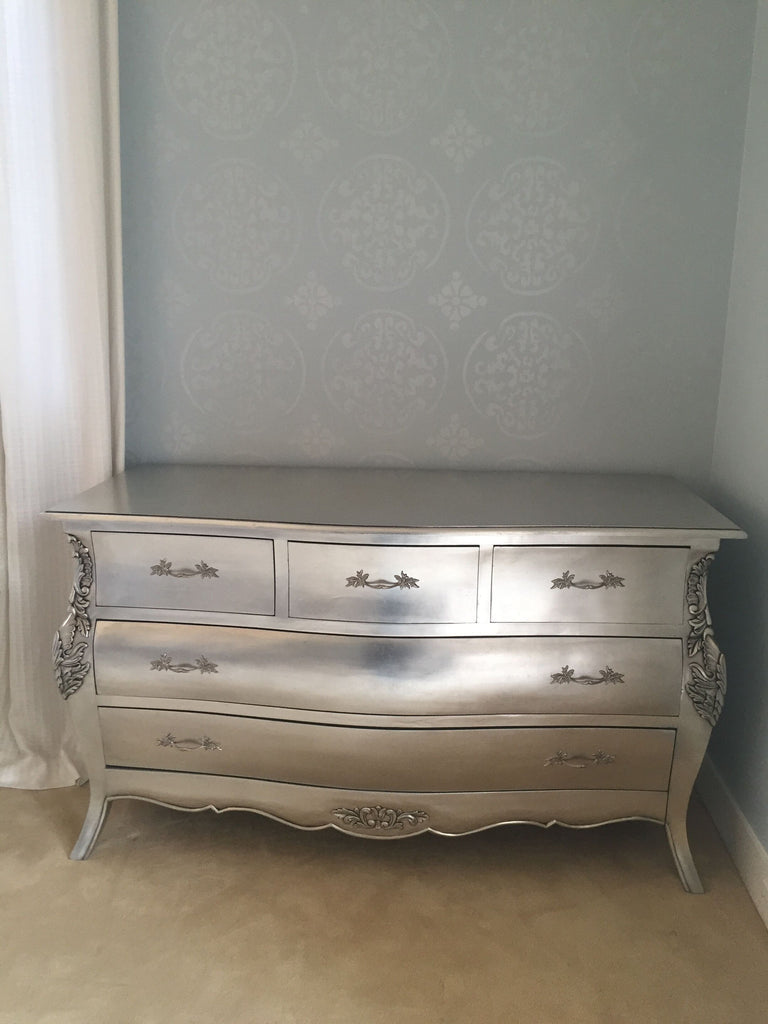 Bordeaux Bombay 5 Drawer Chest - Silver Leaf -CLIENT PHOTO