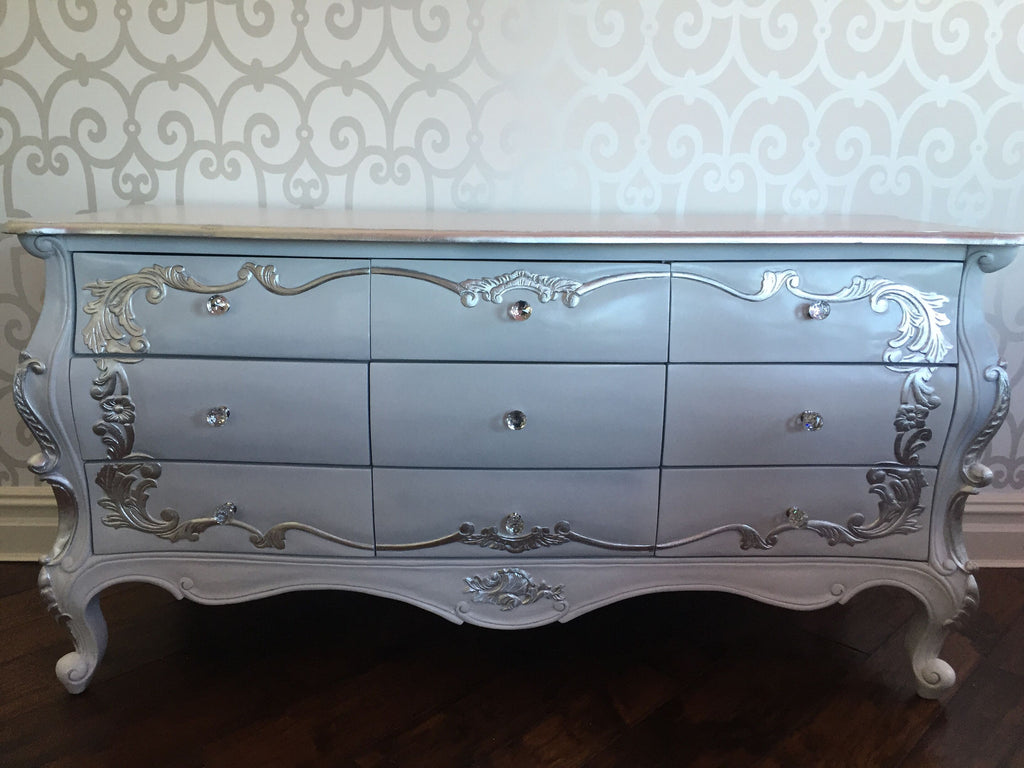 Night's Dream Chest of Drawers - White & Silver- CLIENT PHOTO